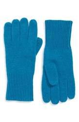Halogen Rib Knit Cashmere Gloves Teal Gloss