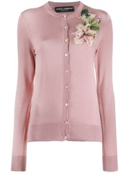 Dolce And Gabbana Cardigan With Flower Embroidery Pink
