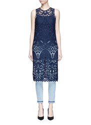 Alice Olivia 'Kelissa' Guipure Lace Sleeveless Top Blue