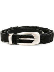 Eleventy Metal Tip Buckle Belt Black