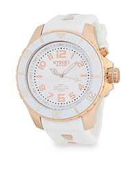 Kyboe Rose Goldtone Stainless Steel Silicone Strap Watch Silver White