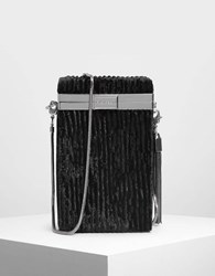 Charles And Keith Metallic Tassel Detail Boxy Clutch Black