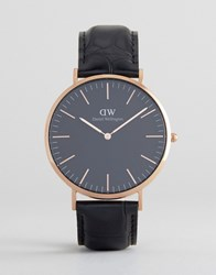Daniel Wellington Classic Black Reading Leather Watch With Rose Gold Dial 40Mm Black
