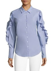Scripted Striped Lace Up Ruffled Poplin Shirt Blue White Stripe