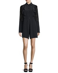 See By Chloe Long Sleeve Poplin Lace Trim Romper Black