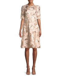 Lela Rose Holly Floral Embroidered 1 2 Sleeve A Line Cocktail Dress Pink Pattern