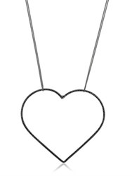 Seeme Black Spinel Heart And Long Chain Necklace