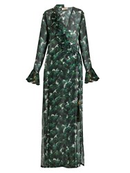 Adriana Degreas Ginkgo Print Deep V Neck Silk Maxi Dress Green Multi