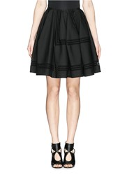 Azzedine Alaia Perforated Embroidery Cotton Skirt Black