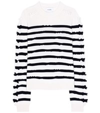 Barrie Striped Cashmere Sweater White
