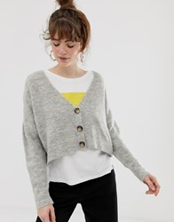 28600e6c5 Save. Pull And Bear Pullandbear Cropped Button Detail Cardigan In Grey Green