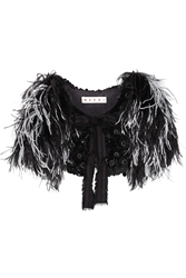 Marni Embellished Goat Hair And Feather Cape