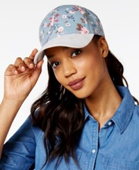 Collection Xiix Floral And Faux Suede Baseball Cap Blue