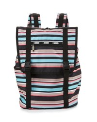 Le Sport Sac Journey Striped Flap Top Backpack Tennis Str