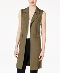Bar Iii Open Front Notched Collar Utility Vest Only At Macy's Dusty Olive