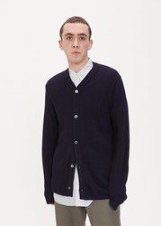Comme Des Garcons Shirt 'S Wave Knit Cardigan Sweater In Navy Size Small 100 Wool