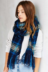 Urban Outfitters Brushed Plaid Blanket Scarf Turquoise