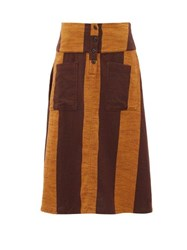 Ace And Jig Maisie Patch Pocket Striped Cotton Midi Skirt Brown Multi