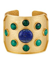 Stephanie Kantis Lapis And Malachite Rejoice Cuff Bracelet Multi
