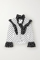 Rodarte Ruffled Polka Dot Twill Blouse White