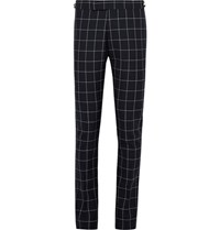 Thom Browne Blue Slim Fit Windowpane Checked Wool Trousers Midnight Blue