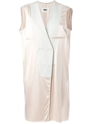 Mm6 Maison Margiela Double Breasted Contrast Long Waistcoat Nude And Neutrals