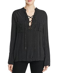 4Our Dreamers Printed Lace Up Shirt Black Ivory
