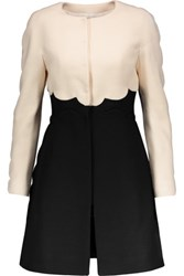 Valentino Scalloped Wool Blend Coat Black