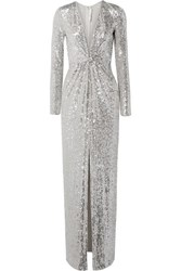 Naeem Khan Sequined Tulle Gown Silver
