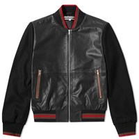 Mcq By Alexander Mcqueen Soft Leather Varsity Jacket Black