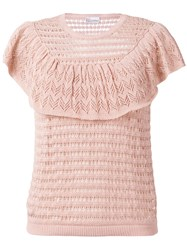 Red Valentino Knitted Ruffle Top Pink Purple