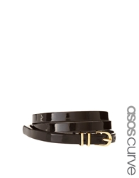 Asos Curve Metal Keeper Patent Super Skinny Waist Belt Black
