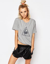 Le Coq Sportif Grey Oversized Boyfriend T Shirt With Large Logo Light Heather Grey