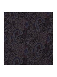 T.M.Lewin Paisley Silk Pocket Square Grey