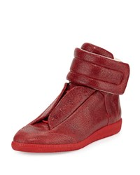 Maison Martin Margiela Future Printed Leather High Top Sneaker Red