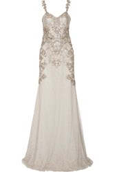 Alexander Mcqueen Embellished Tulle Gown Light Gray