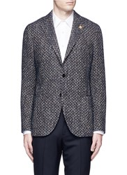 Lardini 'Specialine' Chevron Stripe Wool Cotton Boucle Soft Blazer Blue