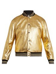 Saint Laurent Metallic Perforated Leather Bomber Jacket Gold