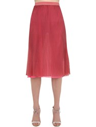 Marco De Vincenzo Pleated Lurex Midi Skirt Pink