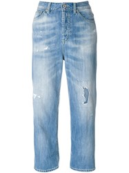 Dondup Distressed Cropped Jeans Cotton Polyester Blue