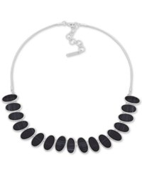Nine West Silver Tone Oval Stone Collar Necklace 16 2 Extender Black