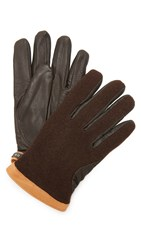 Hestra Deerskin Wool Tricot Gloves Brown Brown