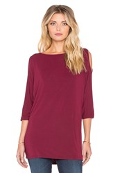 Michael Stars 3 4 Sleeve Cold Shoulder Tunic Burgundy