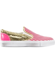 Gienchi Sequins Checked Slip On Sneakers