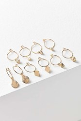 Urban Outfitters Charmed Hoop Earring Set Gold