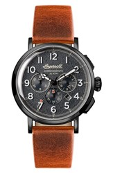 Ingersoll Watches Men's St. John Chronograph Leather Strap Watch 44Mm Tan Grey Gunmetal