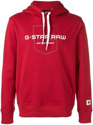 G Star Raw Research Logo Printed Hoodie Red