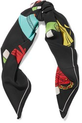 Moschino Printed Silk Crepe De Chine Scarf Black