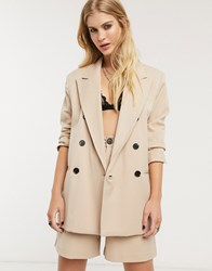 Bershka Double Breasted Blazer Two Piece In Camel Brown