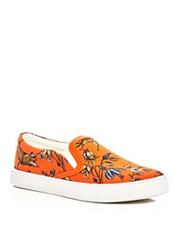 Sam Edelman Pixie Floral Print Slip On Sneakers Orange